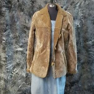 Faux shearling jacket, sz med. Tan farm jacket